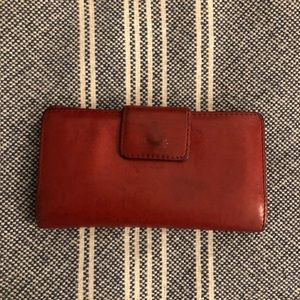 Fossil Red Tabbed Leather Wallet